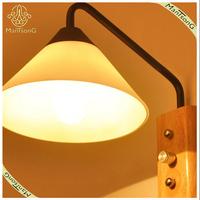 Fancy Wooden Base Glass Shade Indoor Wall Light E27*1-40W Wall Light