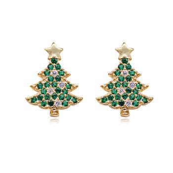Christmas Tree Clip Earrings No Pierced