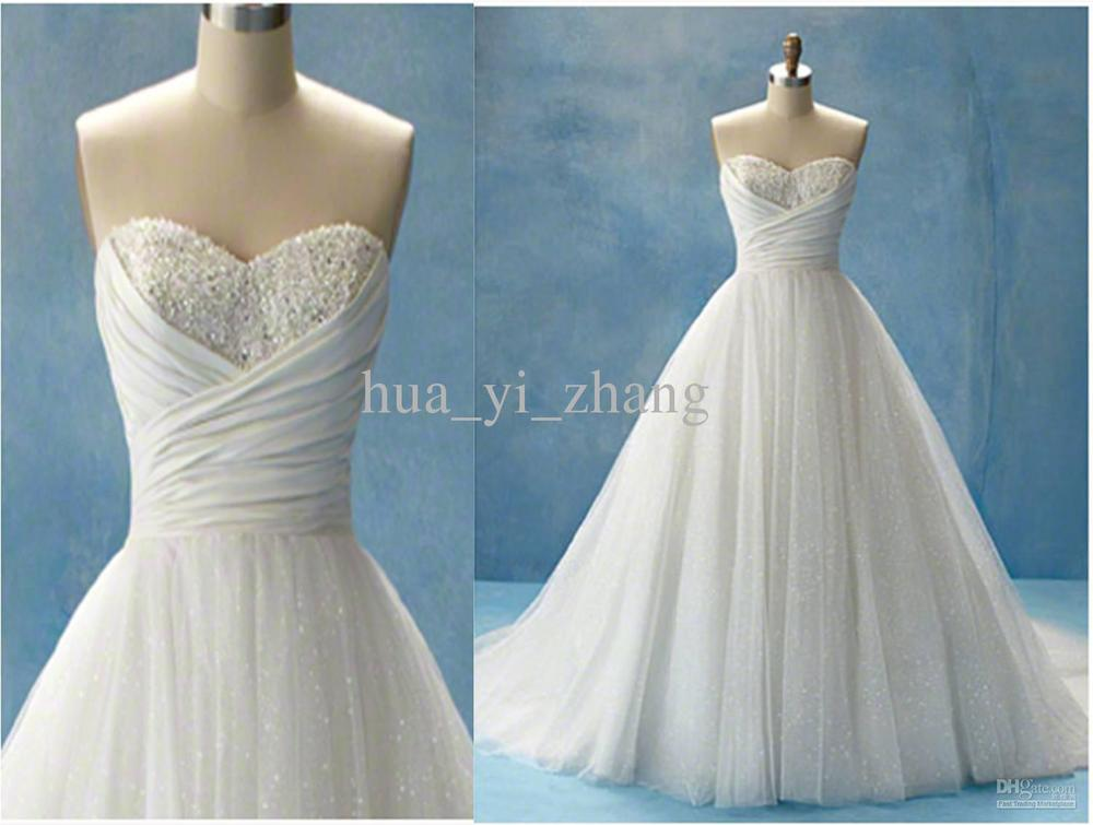 A Line Tulle Simple Wedding Dresses With Beading Off The: Actual Images Cinderella Beach Wedding Dresses Glitter A