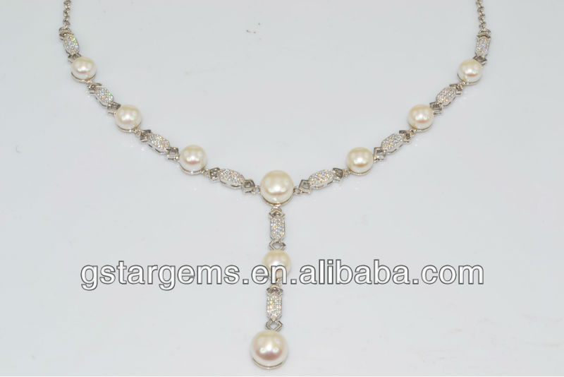 925 Sterling Silver Fresh Water Pearl Necklace Jewelry Hong Kong Wholesale