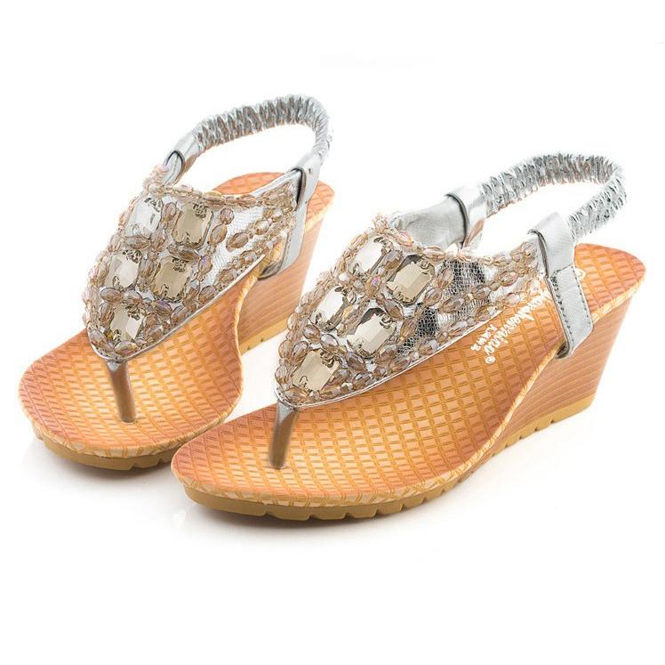 927baae275d8c Get Quotations · Silver Sandals Silver Wedge Sandals Silver Summer Sandals  Gold Wedge Flip Flops Women Summer Wedge Bohemia
