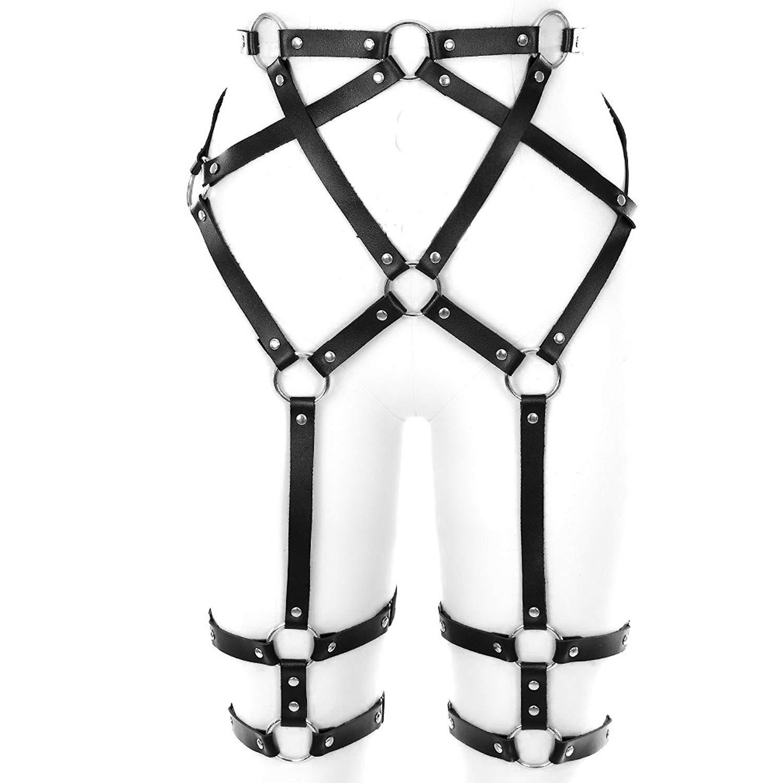 fd13d10b8 Get Quotations · BANSSGOTH PU Harness Leg Sexy High-Waisted Leather  Suspender Punk Garter Belt with Two Leg
