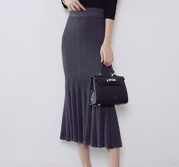 Último cinturón de cintura elástica mujeres faldas gris Maxi Falda larga 1c251294748e