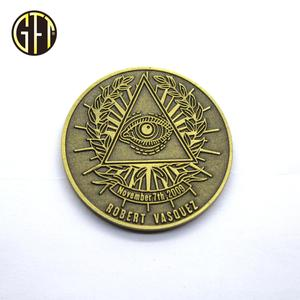 High quality free design Egyptian pharaoh's eye metal challenge coin