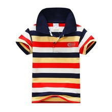 Child Baby Boy Stand Collar Striped T-shirt Casual Tops Kids Tee Shirt 1-7Y