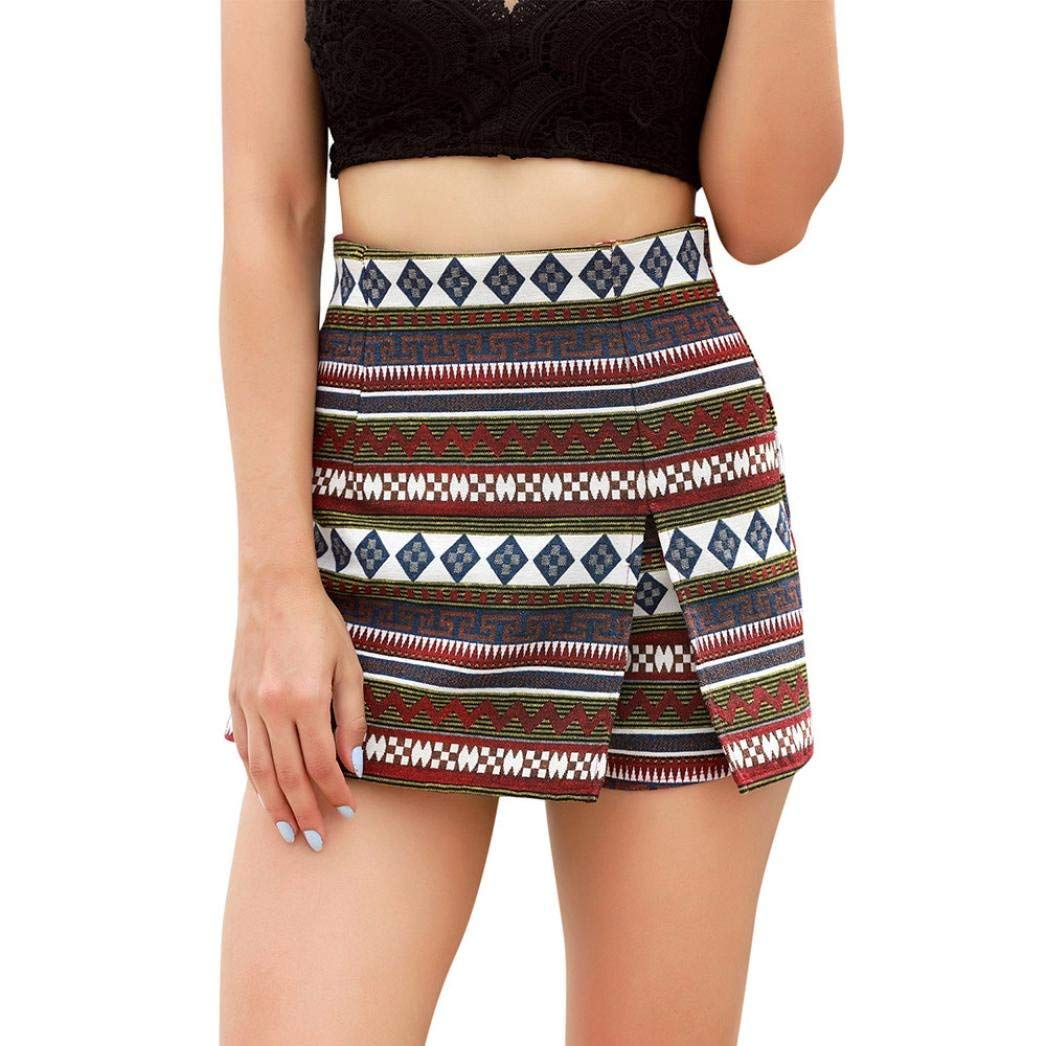 Women Casual Summer Shorts Retro Bohemia Split High Waist Hot Pants Short Pants Beach Shorts