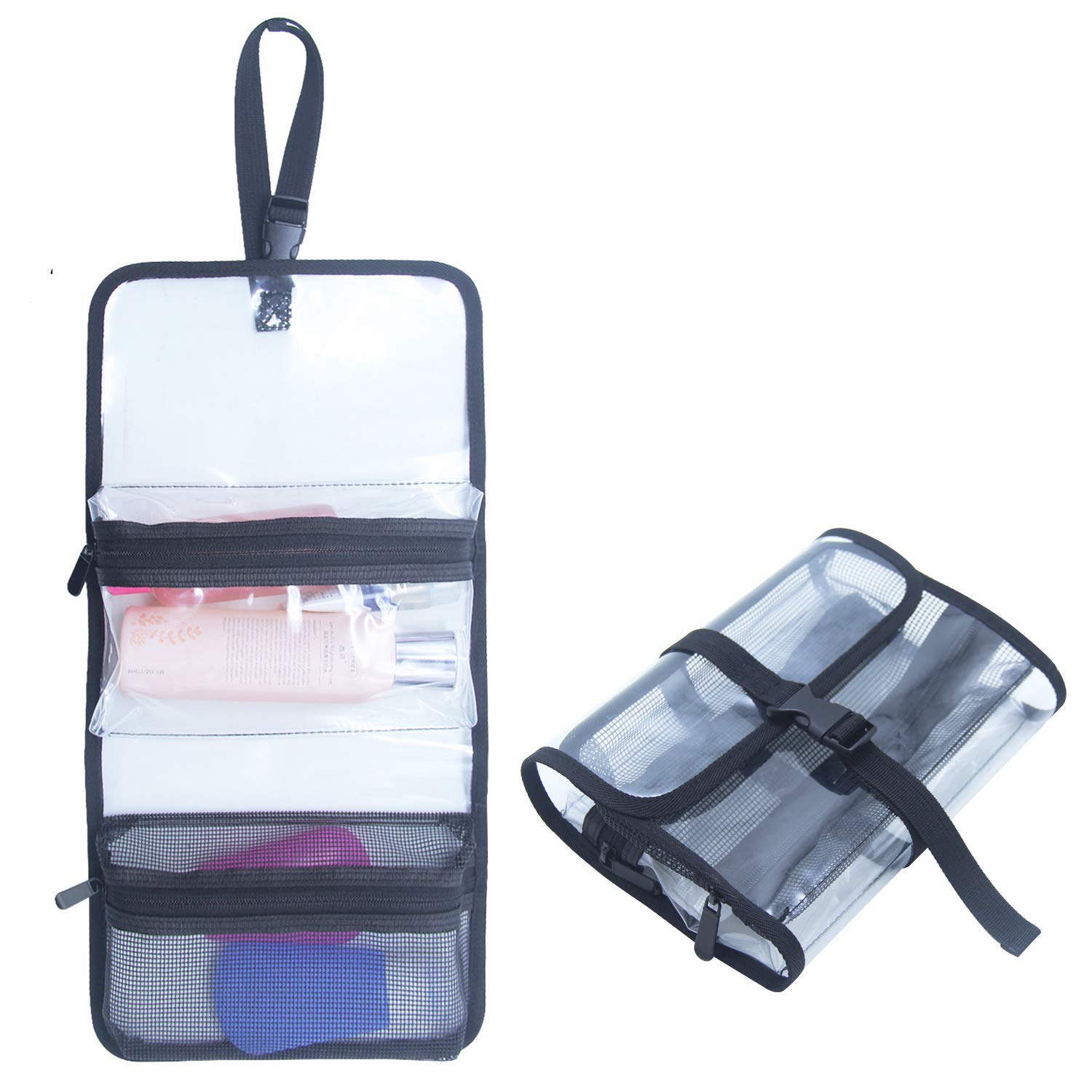 Get Quotations · TSA Approved Toiletry Bag Clear Travel Bag Cosmetic Bags  Makeup Organizer Bag Folding Travel Bag With a90cf5c8e2