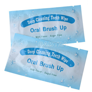 Oral Care Product Light Blue Mint Flavored Disposable Finger Teeth Wipes for Sale