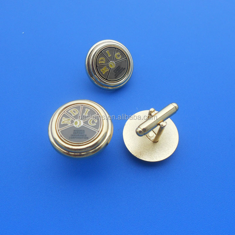 Gold round swank cufflink for wholesale mens accessories
