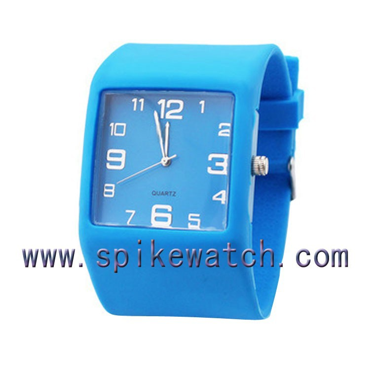 Boys blue color square faced waterproof sports custom silicone watches own logo