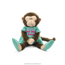 Best price Suntown high quality super soft plush stuffed animal toys,cool sitting brown monkey with blue slippers and shirt