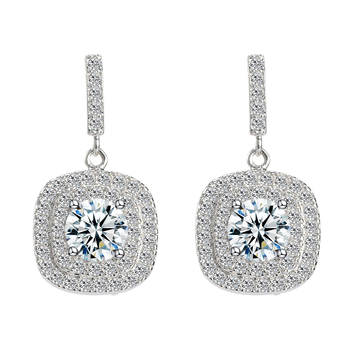 Custom handmade drop CZ diamond real sterling 925 silver plated studs earrings jewelry women