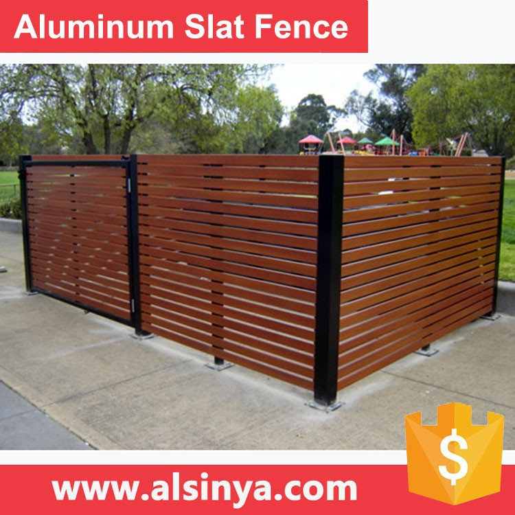 New Style Aluminum Slat Fence for Courtyard Guarding with Wood Grain Color or RAL 7016 Grey