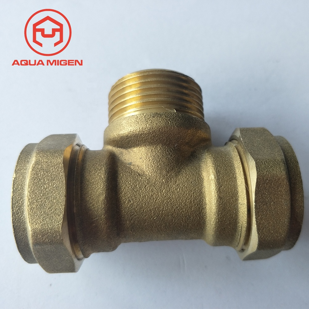 15mm 22mm Cnc Female Thread Brass Male Compression Tee For