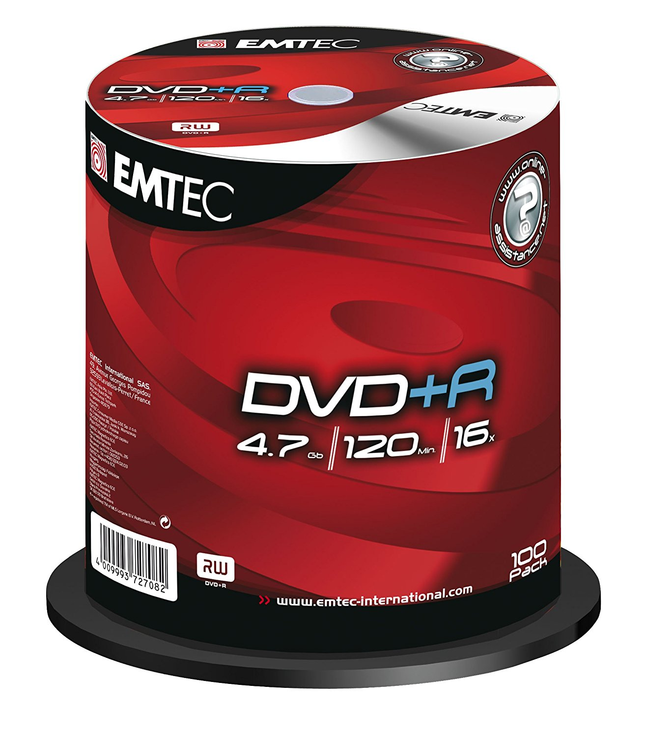 EMTEC 4.7 GB 16x Silver Single-Layer Recordable Disc DVD+R,EKOVPR4710016CB, 100-Disc Spindle (Discontinued by Manufacturer)