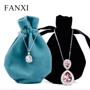 FANXI  Black Jewellery Pouch For Ring Watch Gift Bracelet Packaging Drawstring Velvet Pouch custom printed jewelry pouches