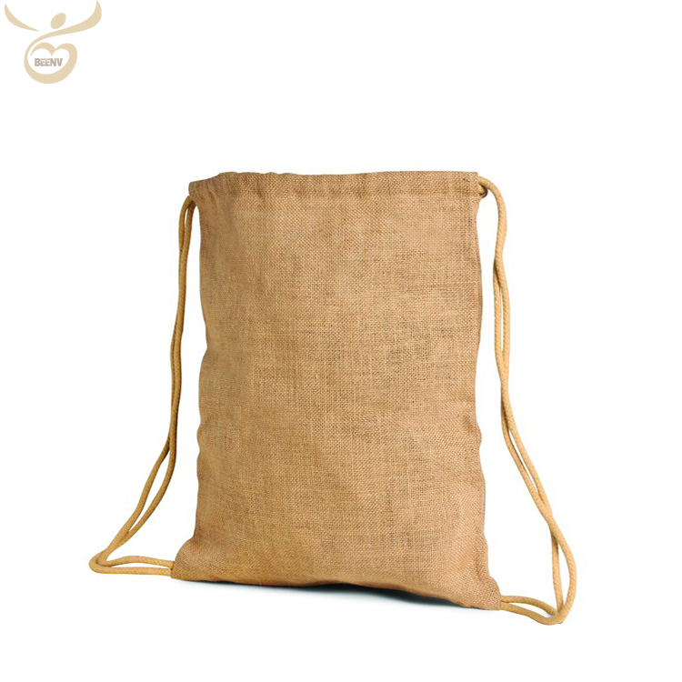 Customized wholesale cheap promotional jute drawstring backpack gift bag