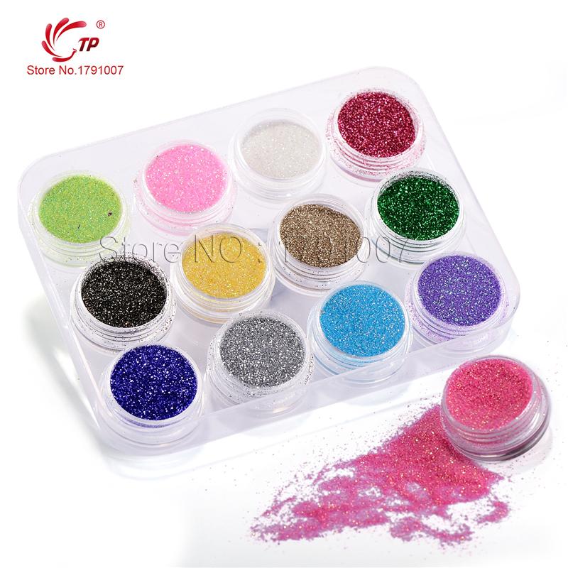 Buy 12pcslot Colorful Fine Glitter Nail Art Kit Dust Powder Tips