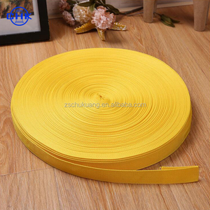Yellow plain/herringbone nylon mix cotton webbing tape for label and waist band