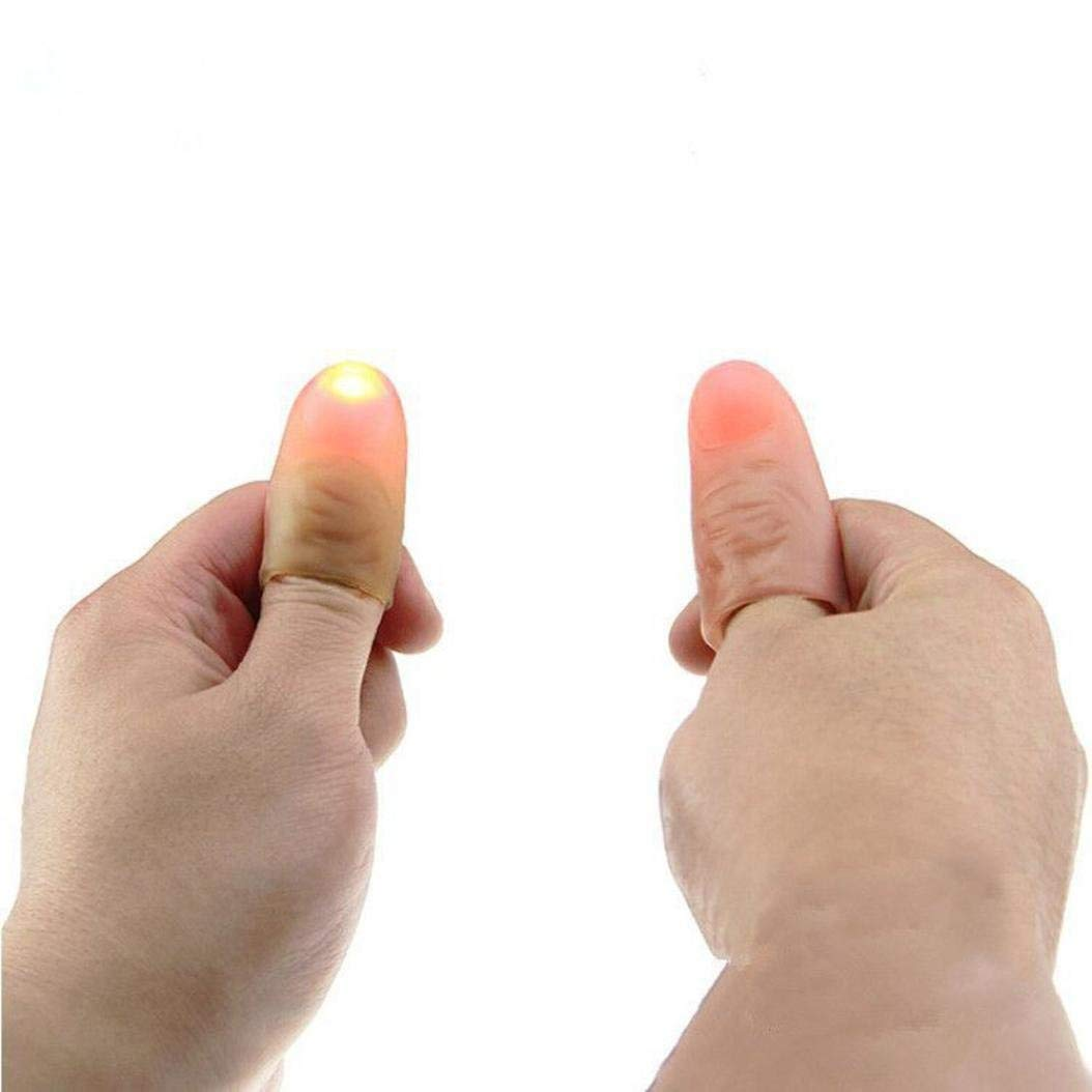 SUKEQ 2 Pairs Light Up Thumbs Fingers Magic Trick for Kids and Adults, LED Finger Lamp, Novelty Gag Toys, Glow Spoof Toys, Light Up Toys, Party Supplies