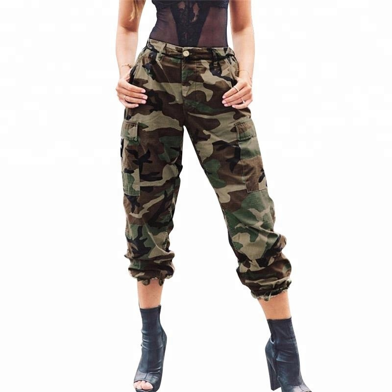 Vrouwen camouflage rits losse overalls vrouwen casual jogger cargo broek