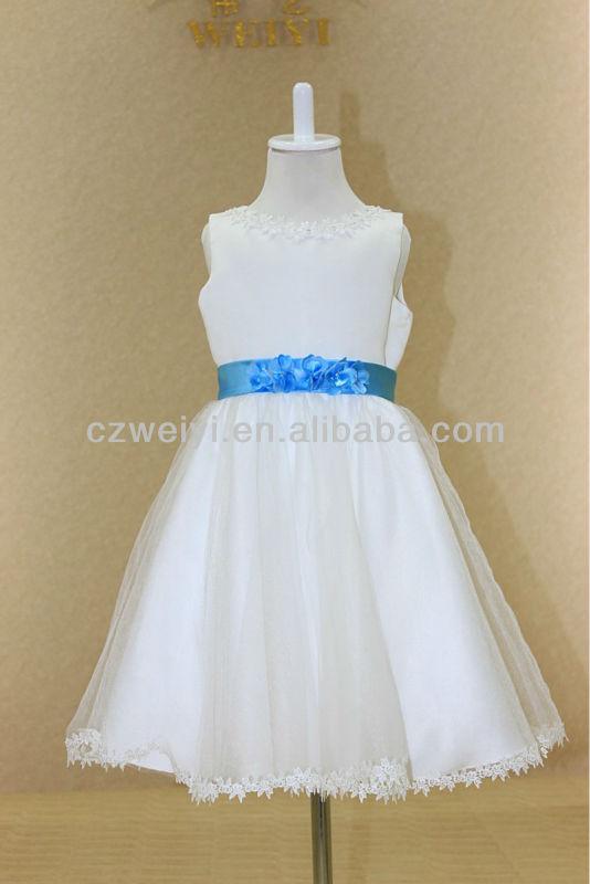 fdc2f1c79 الساتان حافة الدانتيل تال fg0020 اليد-- صنع زهرة حزام فستان قصير زهرة فتاة  صافي