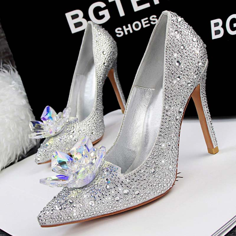 SAA4648 Wedding shoes women pointed toe pumps fashion shiny rhinestone flower ladies high heel shoes