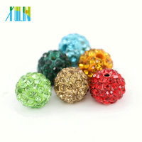XULIN IB00199 4mm - 18mm Mixed Color Round Clay Rhinestone Pave Crystal Shambhala Beads for Jewelry Making