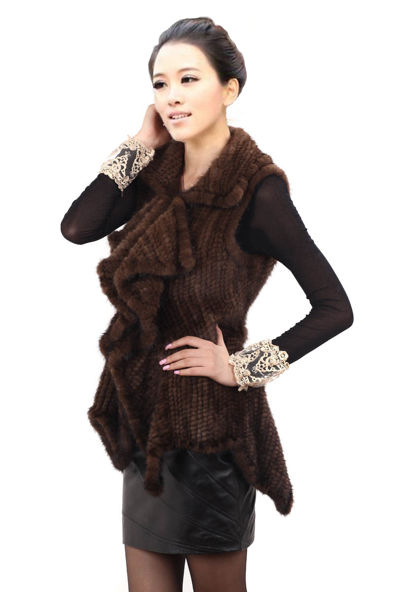 Free shipping EMS 2015 new knitted genuine mink fur coat women top fashion all-match mink fur vest custom plus size F-490