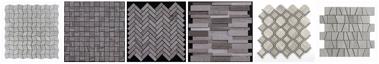 Strip Shape Wooden White Marble Wall Backsplash Mosaic Tile