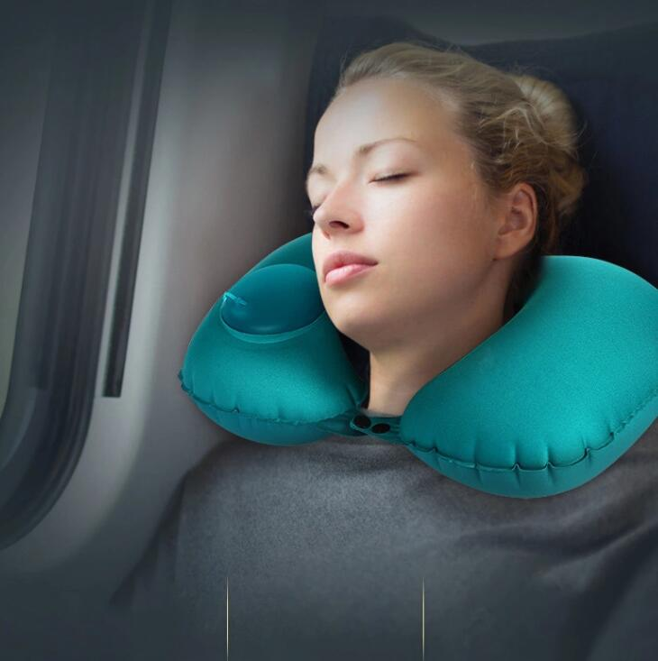 Hand Press U type Neck Travel Inflatable Pillow by Airplane Car Office