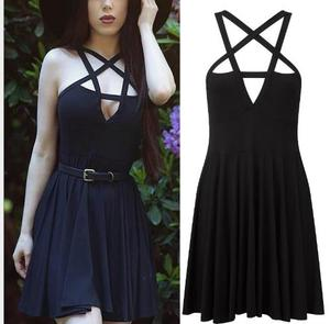 Summer Fashion Women Dress Gothic Vintage Romantic Casual Dress Sling Sexy black dress
