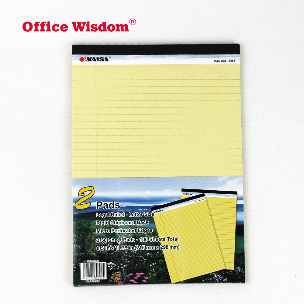 Refill Pad Pack of 5 A4 Legal Pad 50Shts Yellow Notebook Memo Books Pads
