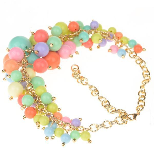 4Pcs/lot Women Candy Color Pearls Pendant Necklaces Multilayer Pearl Chain Necklaces Lady Gold Chunky Choker Statement Necklace
