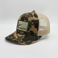 Fashion Custom Trucker Snapback Hat Camo Mesh Woven Patch Trucker Caps With Embroidery