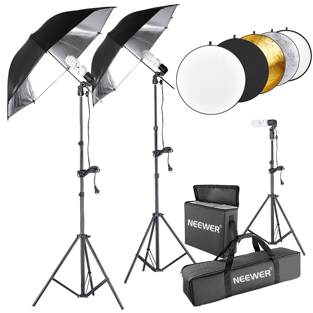 "Neewer 600W 5500K Photo Studio Black/Silver Umbrella Continuous Lighting Kit with 43""/110cm 5 in 1 Reflector for Product,Portrait and Video Shoot Photography"