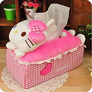 Hello Kitty Plush Tissue Box Cover Holder Case Removable Paper Napkin Tissue Boxes
