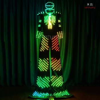 Neon Robot Stilt Walker Halloween Costume Led Light Up Costumes ...