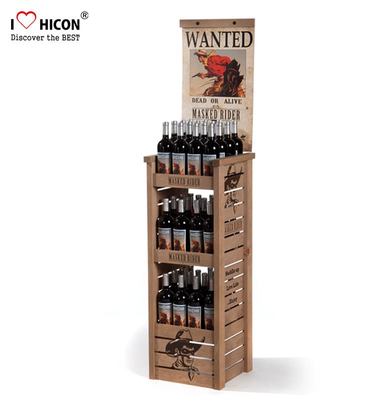 Original Floor Standing Wine Shop 3-layer Wooden Collapsible Commercial  Liquor Display Shelves - Buy Liquor Display Shelves,Wooden Liquor Display