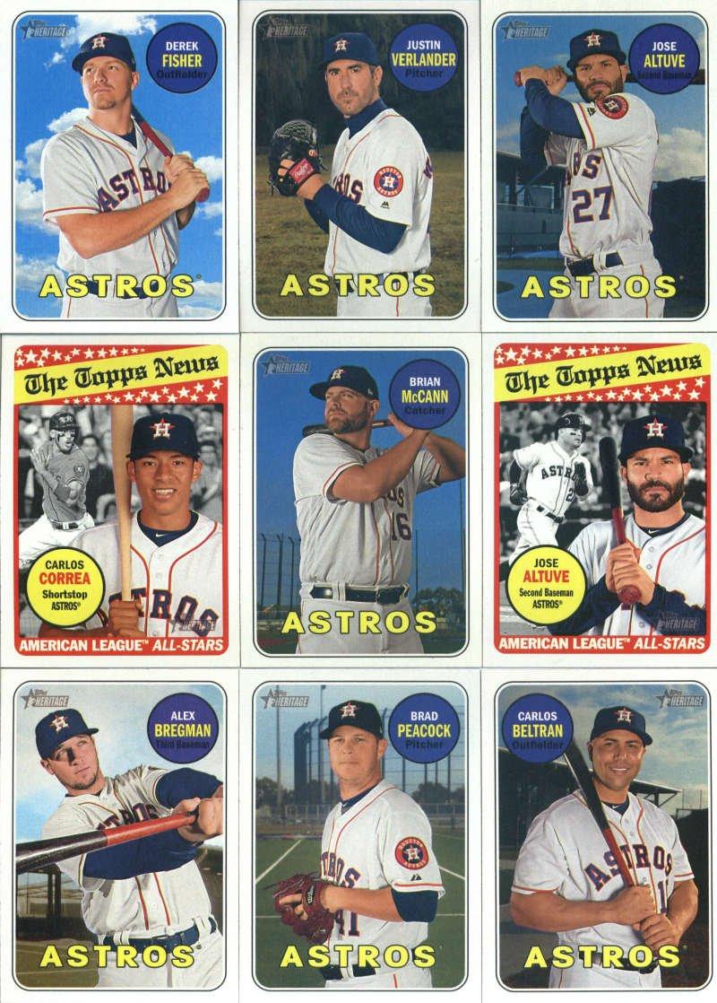 2018 Topps Heritage Houston Astros Team Set of 24 Cards: Jose Altuve(#35), Derek Fisher(#56), Justin Verlander(#58), Brian McCann(#77), Jose Altuve(#78), Alex Bregman(#119), Brad Peacock(#120), Carlos Correa(#127), Carlos Beltran(#148), Game 2(#163), Game 3(#164), Game 5(#166), Game 7(#168),
