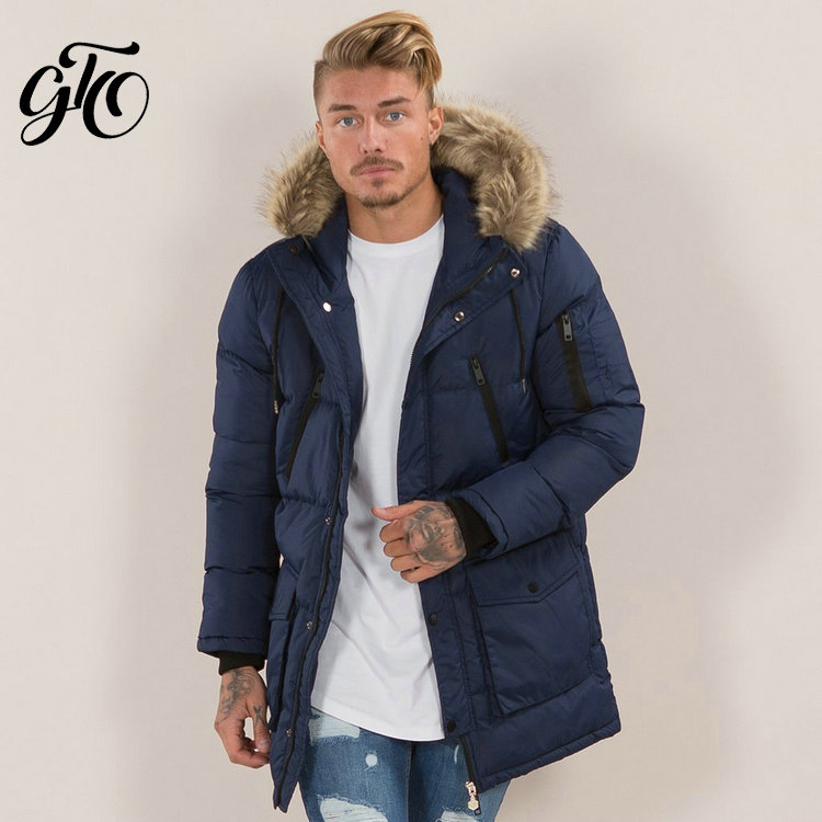 High quality men multi pocket long down jacket for winter
