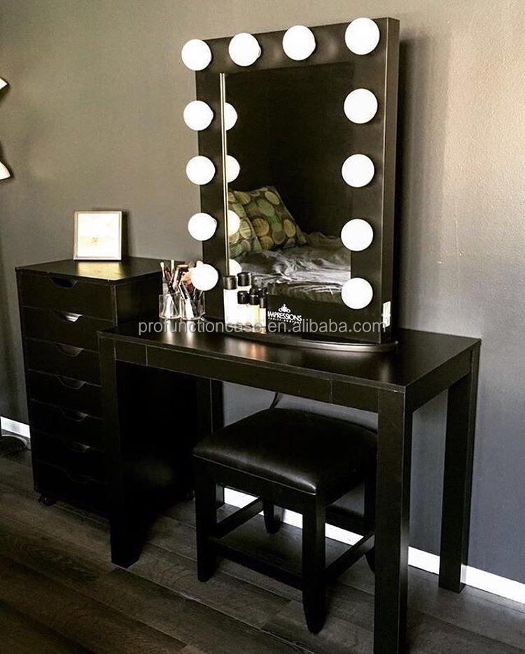 Professionnel studio maquillage miroir avec led lumiu00e8res salon de coiffure miroir avec u00e9clairage ...