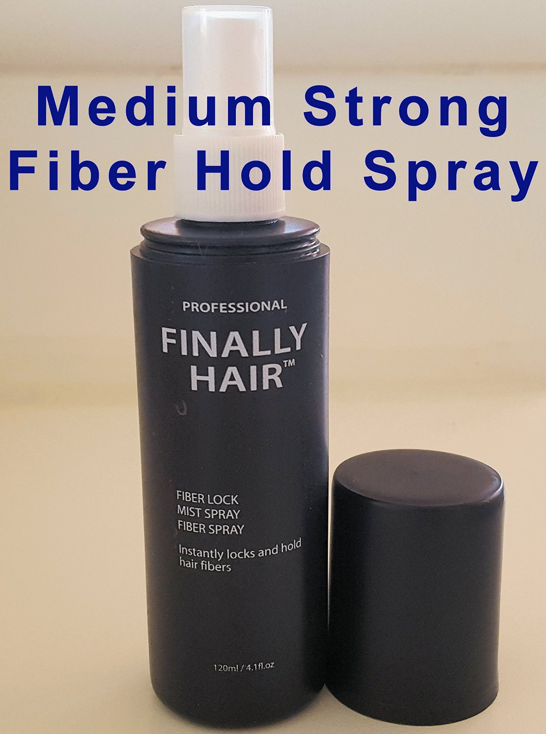"""Finally Hair """"MEDIUM"""" Hold Hair Fiber Styling Spray. Use our """"STRONG"""" spray for fiber lock (search item number B00TLY9OHQ). Can also be used with competitor's brands like Xfusion? Bosley? Toppik?"""