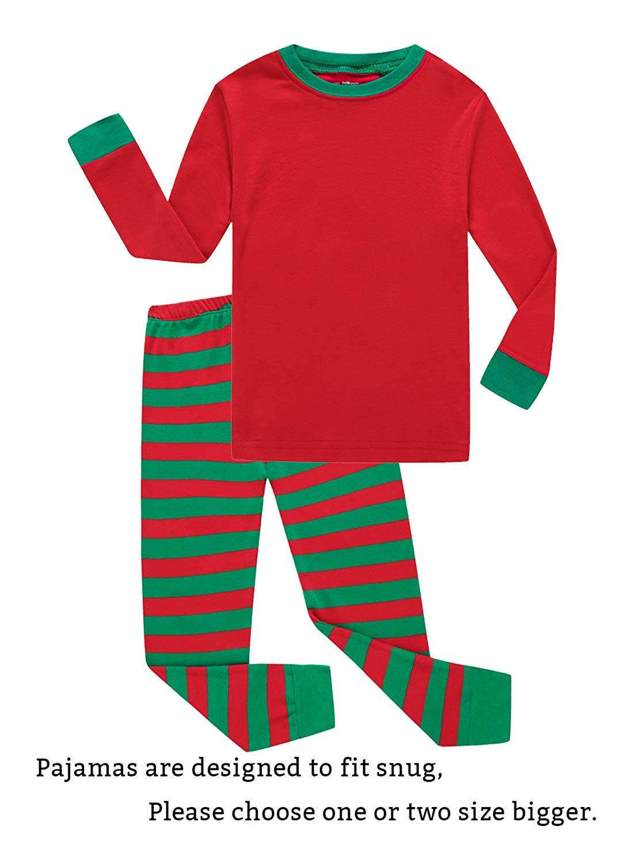 f1c2ca2f29 Get Quotations · Family Feeling Striped Boys Girls 2 Piece Christmas Pajamas  Set 100% Cotton Pjs