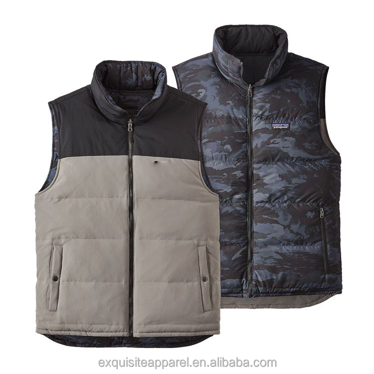 custom logo full zipper puffer gilet High quality waterproof men duck down puffer vest for men