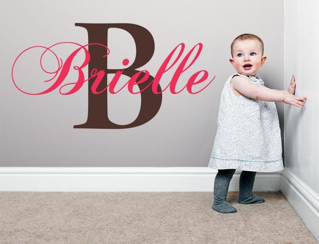 "Baby Girl Initial Personalized Custom Name Vinyl Wall Decal 20"" W by 12"" H, Girl Name Wall Decals, Wall Decal, Name Wall Decal, Nursery Name Decal, Girls Names, PLUS FREE WHITE HELLO DOOR DECAL"