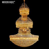 MEEROSEE Hot sale Gorgeous Large Golden Crystal Hotel Chandelier Pendant Lighting for High Ceiling MD85210