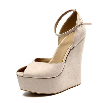 Suede Leather Platform Ladies Heel Shoes Latest Design Wedge ...