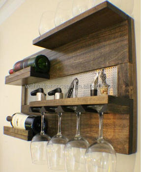 Wall Mounted Wine Rack With Shelves And Decorative Carrier