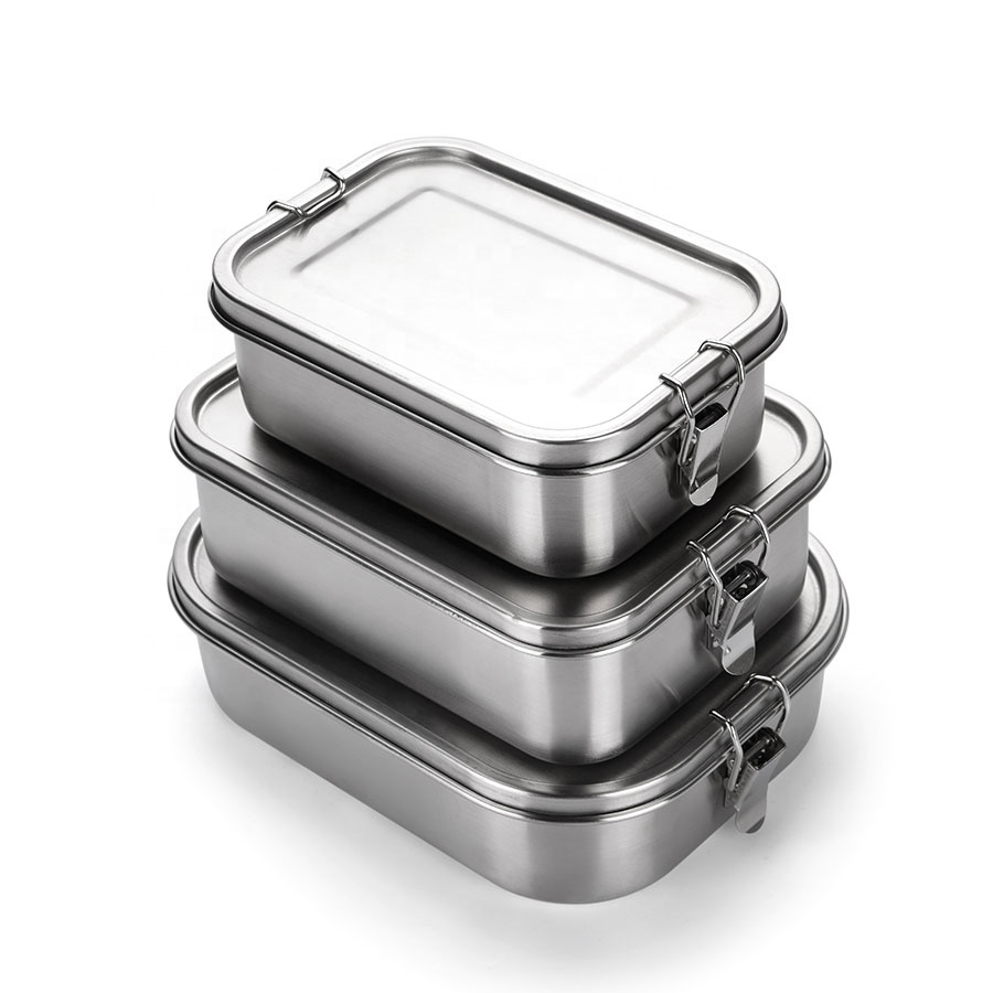 2 compartment Leak Proof heated Thermal food 304 metal tiffin bento stainless steel lunch box